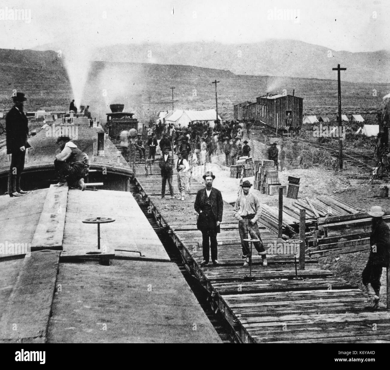 Construction Camp of the Central Pacific Railroad. Utah, April 1, 1869. - Stock Image