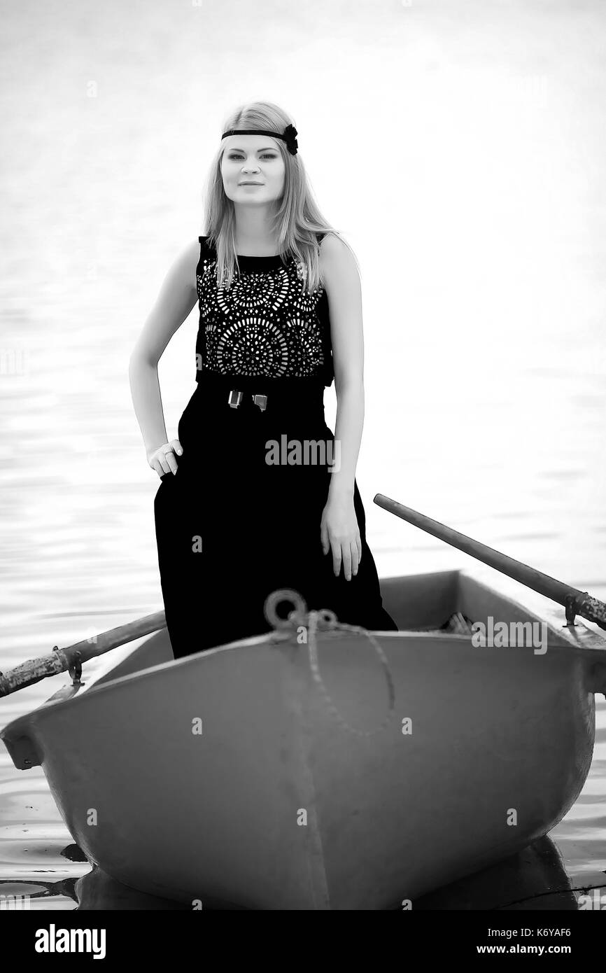 pretty girlfriend on the boat - Stock Image