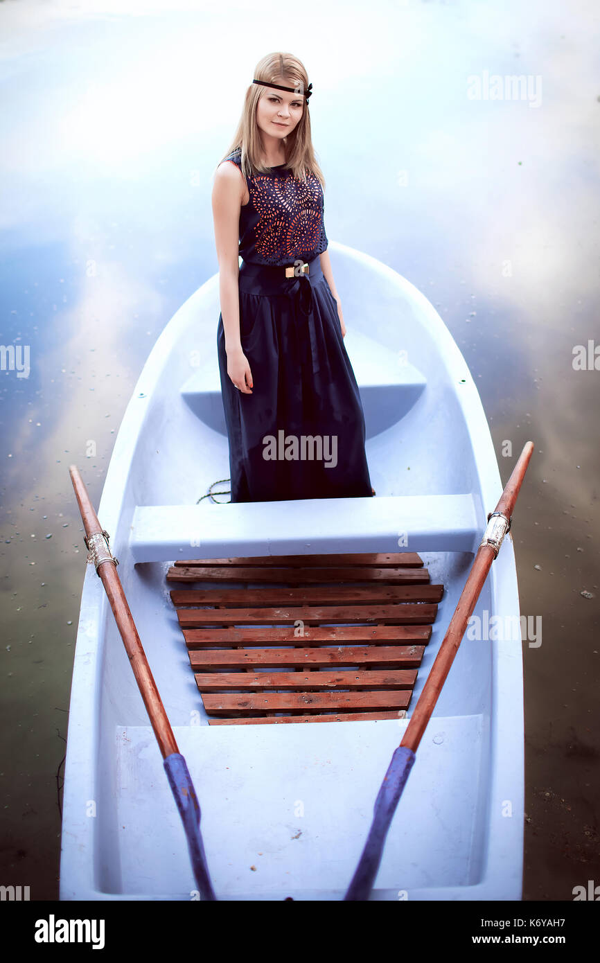 beautiful woman on the boat - Stock Image