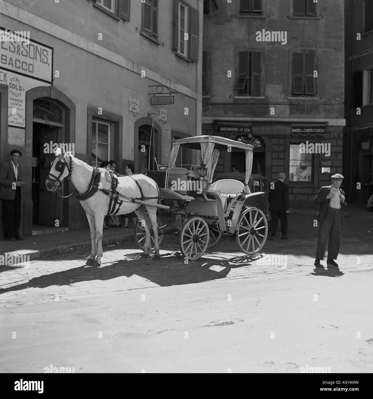 1950s, historical picture shows a pony and trap waiting for customers in a small cobbled square in Gibraltar, with Bassadone & Co, a bakers shop in the background. - Stock Image
