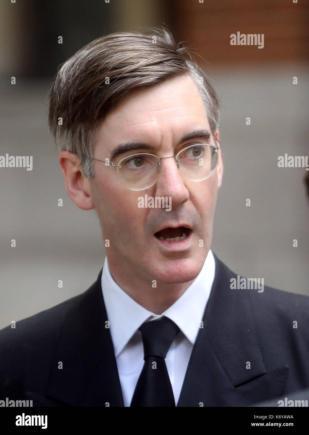 Jacob Rees-Mogg at funeral of Cardinal - Stock Image