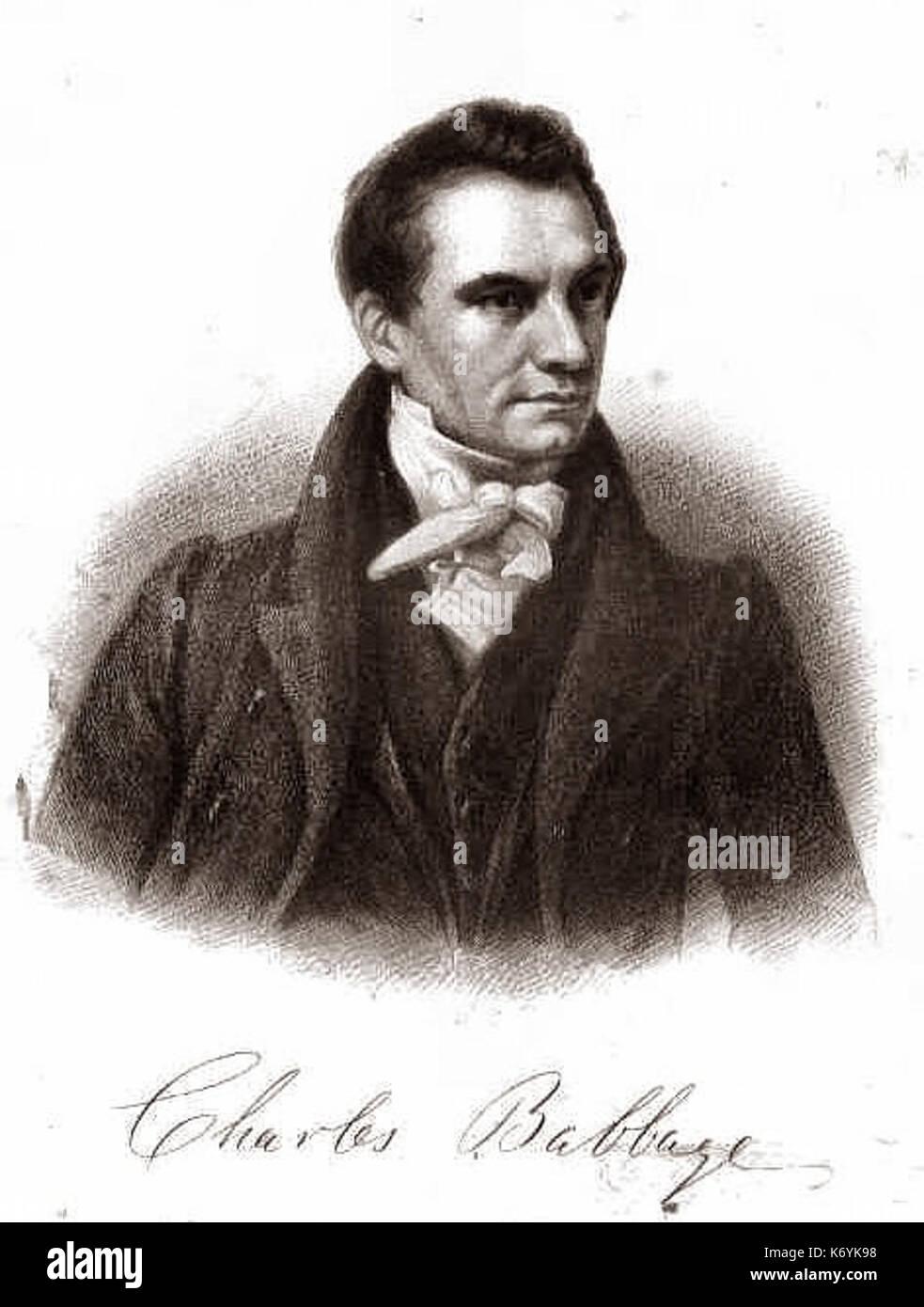 Engaving of Charles Babbage from Mechanics Magazine - Stock Image