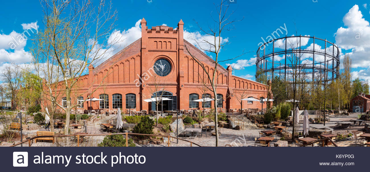Stone Brewing World Bistro & Gardens brewery on the site of former Gaswerks Mariendorf (Mariendorf Gas Factory), Berlin, Germany. - Stock Image