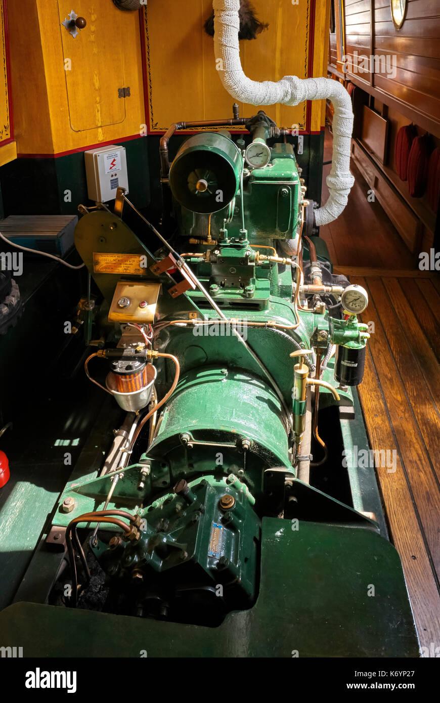 Russell Newbery DM2 engine installed in a narrowboat - Stock Image