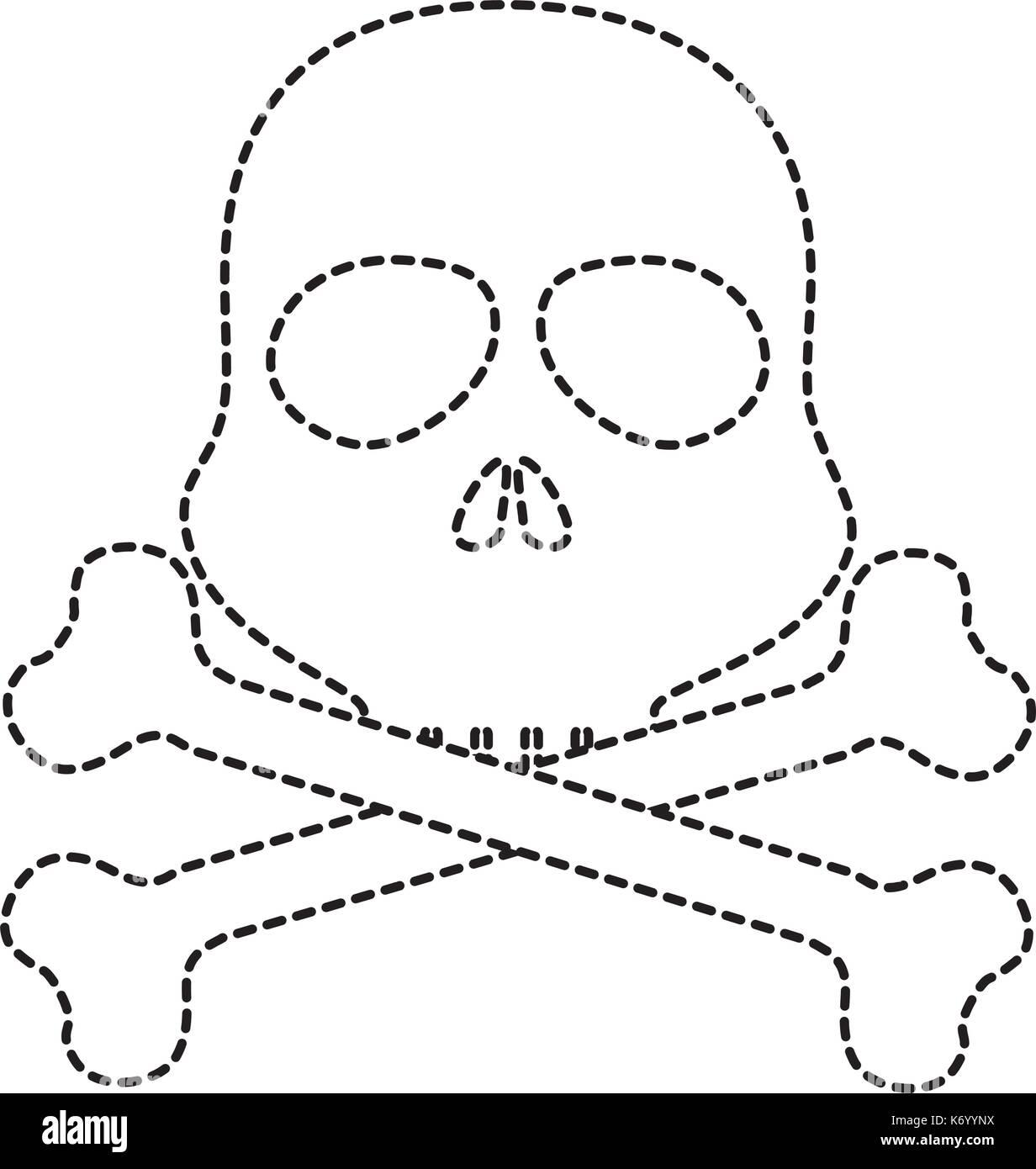 skull alert symbol icon - Stock Image