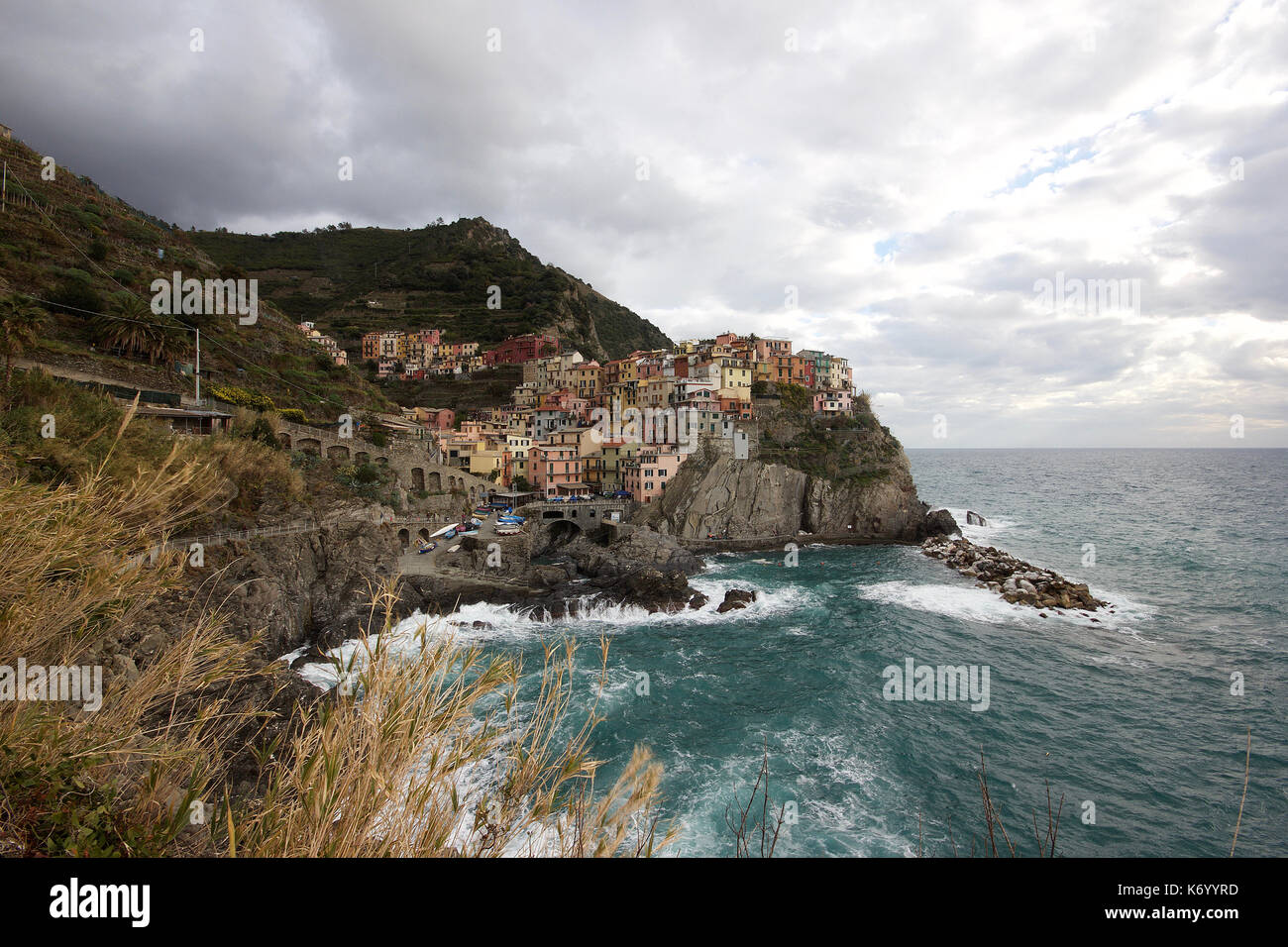 the beautiful pastel colored houses of Manarola, Le Cinque Terre, Italy, from a distance, photoarkive Stock Photo