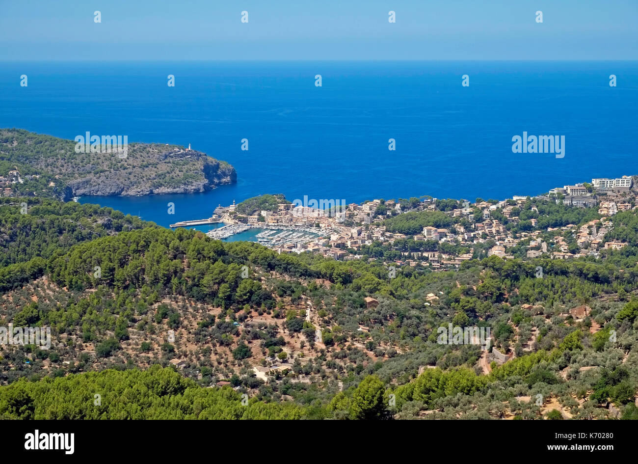 Soller Harbour Front Balearic Island Majorca Mallorca Spain Espana EU European Union Europe - Stock Image