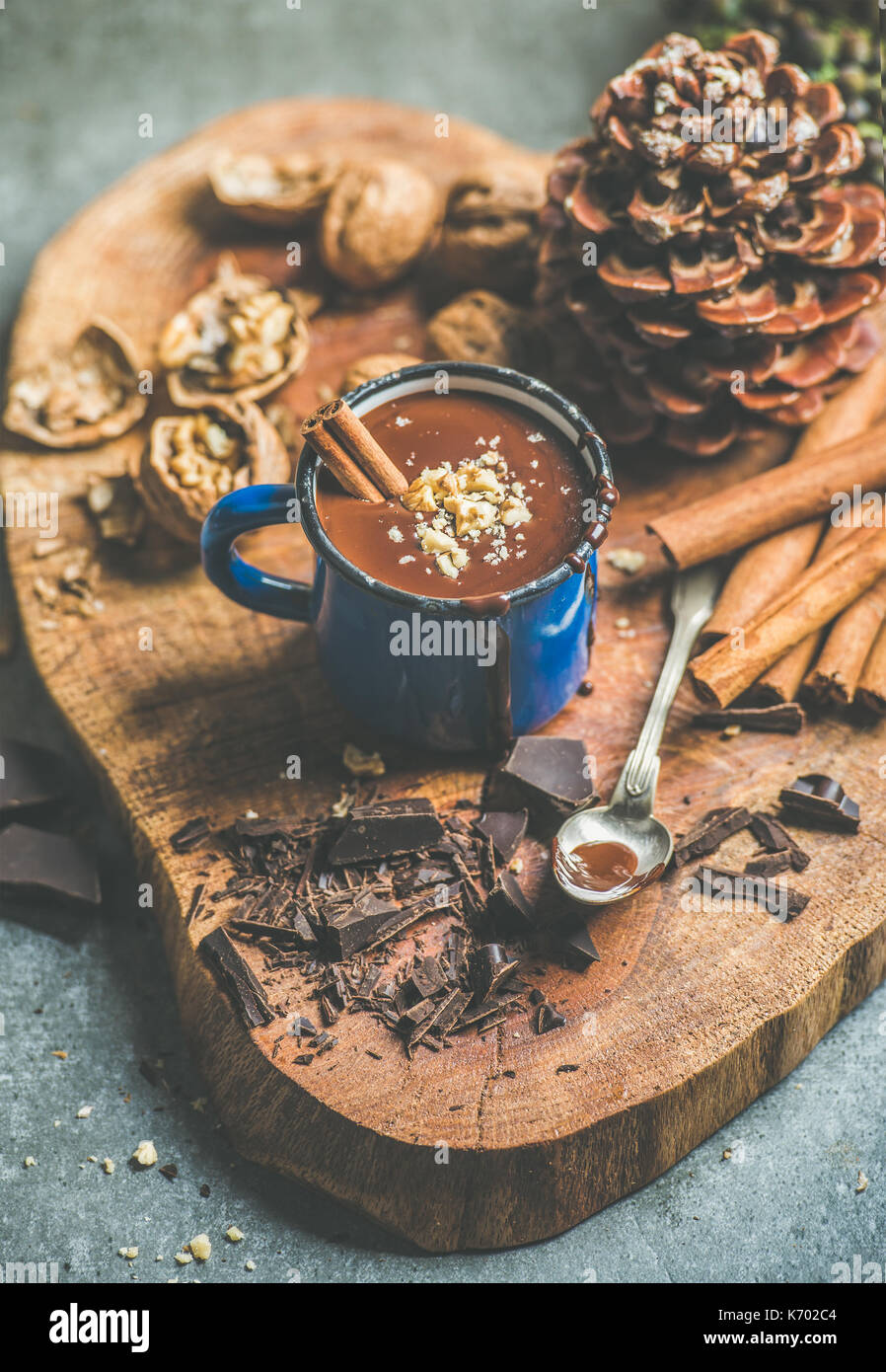 Rich winter hot chocolate with cinnamon and walnut crumb - Stock Image