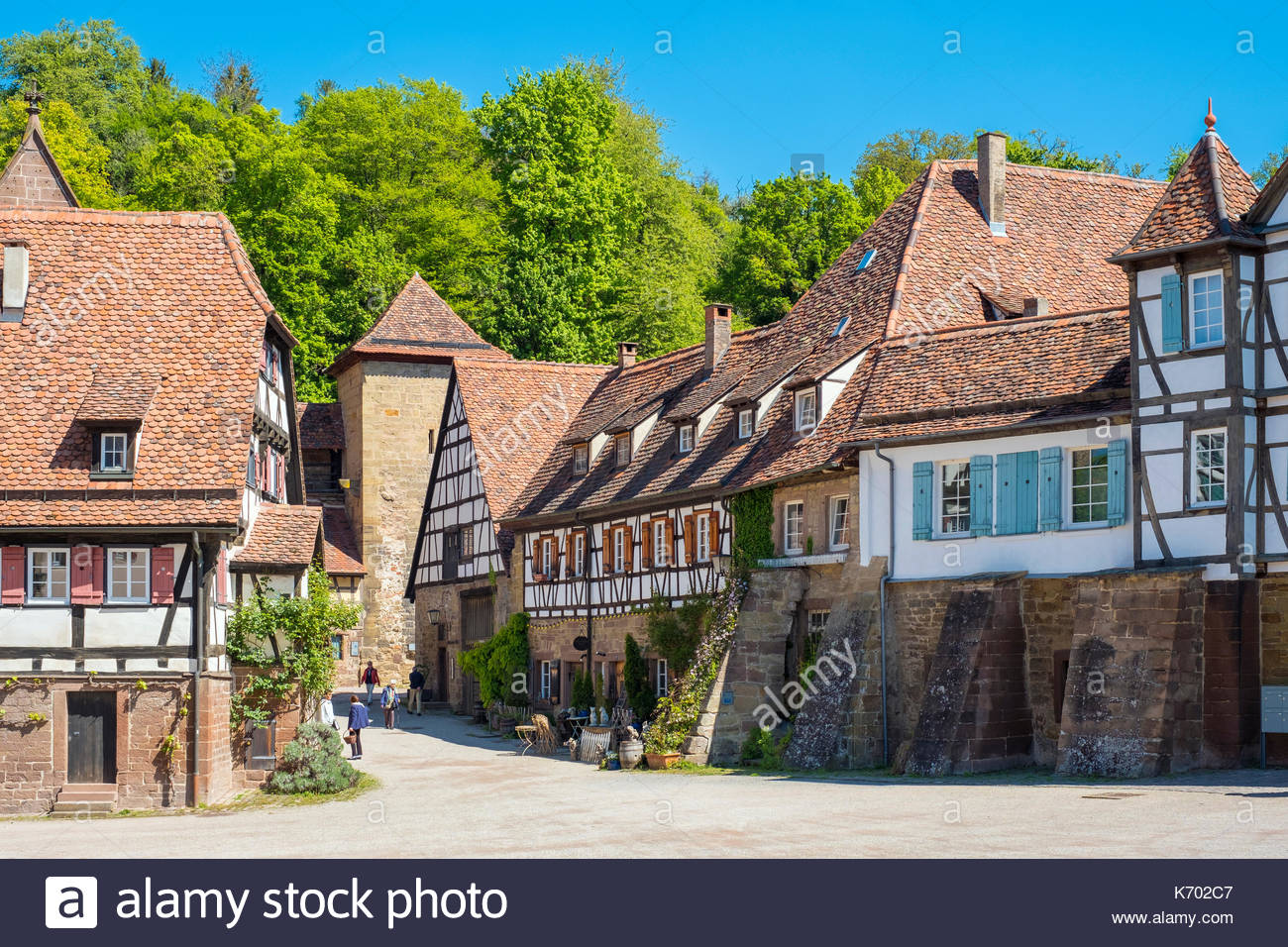 Germany, Baden-Württemberg, Maulbronn. Historic half-timber buildings in the monastery village. - Stock Image