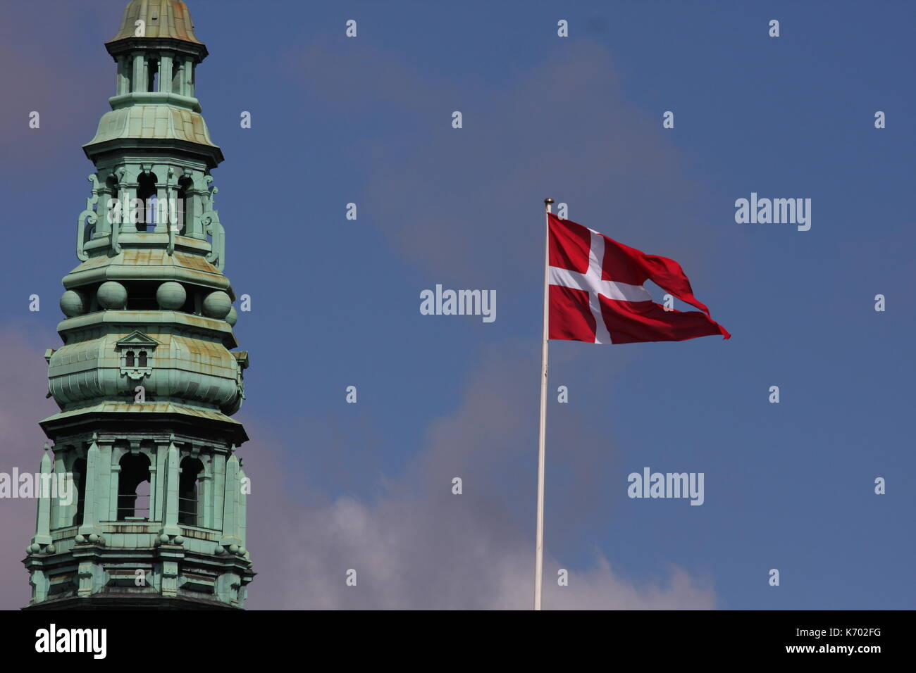 Red and white Danish flag - Denmark - Stock Image