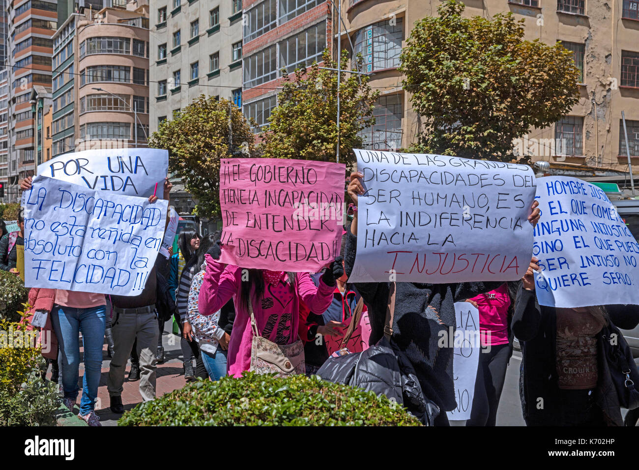 Bolivian demonstrators protesting in El Prado, main street in the city center of La Paz, Bolivia - Stock Image
