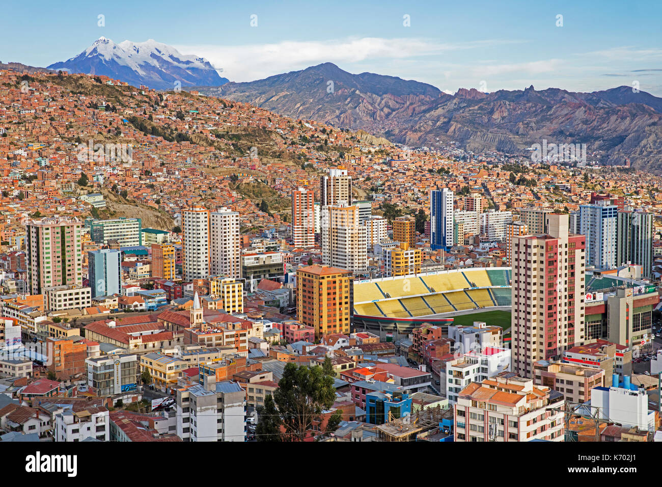 Aerial view over the city La Paz showing its business district and Estadio Hernando Siles sports stadium in the Miraflores borough, Bolivia - Stock Image