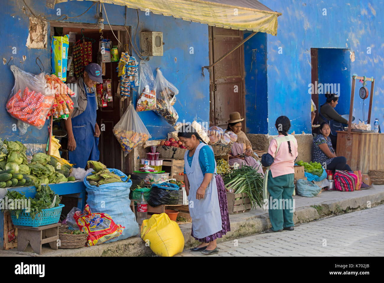 Vegetables for sale at greengrocer's shop / greengrocery in Coroico, town in Nor Yungas Province, La Paz Department of western Bolivia - Stock Image
