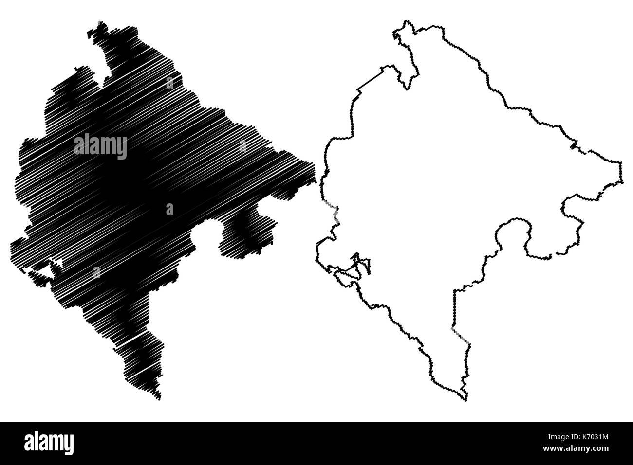 Montenegro map vector illustration, scribble sketch Montenegro - Stock Image