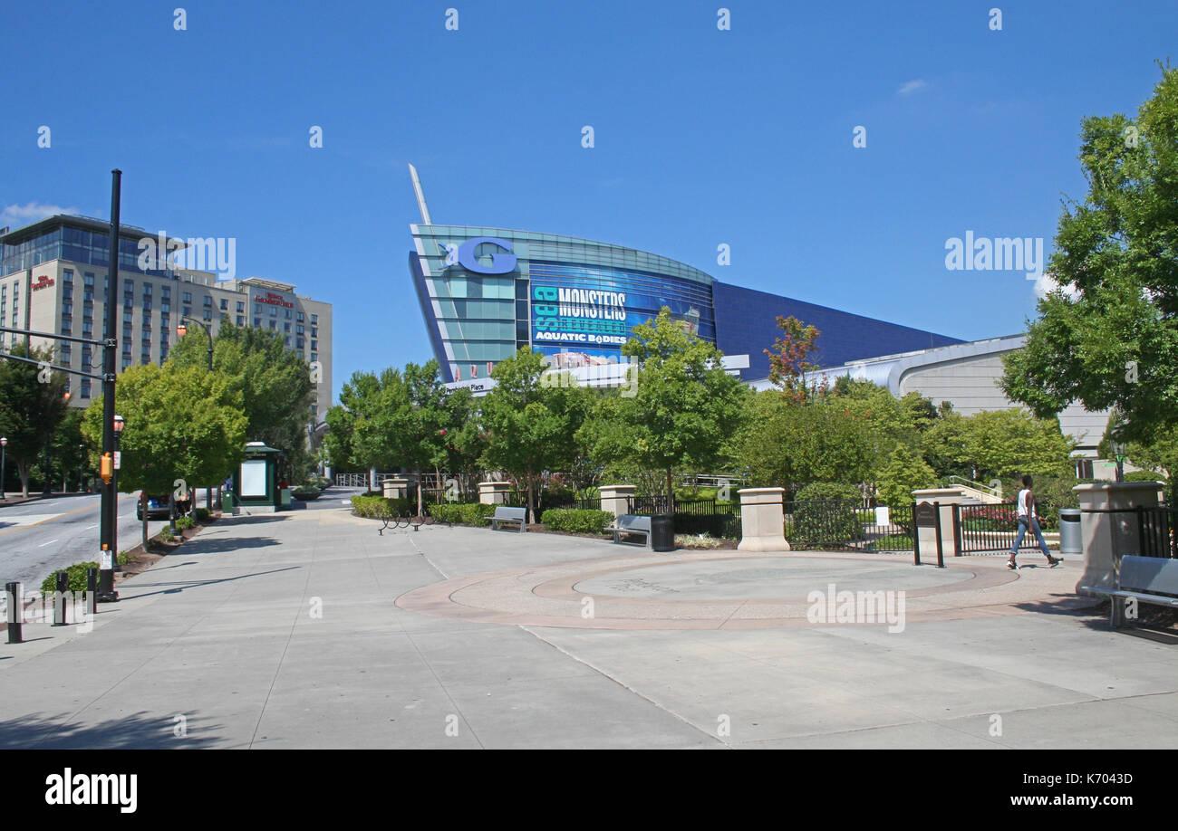 Atlanta, USA - August 28, 2014:  The Georgia Aquarium at Pemberton Place. - Stock Image