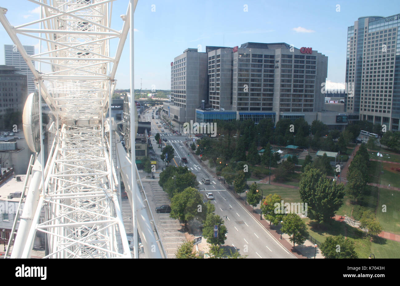 View of downtown Atlanta, Georgia, from inside the Skyview Ferris Wheel on August 28, 2014 - Stock Image