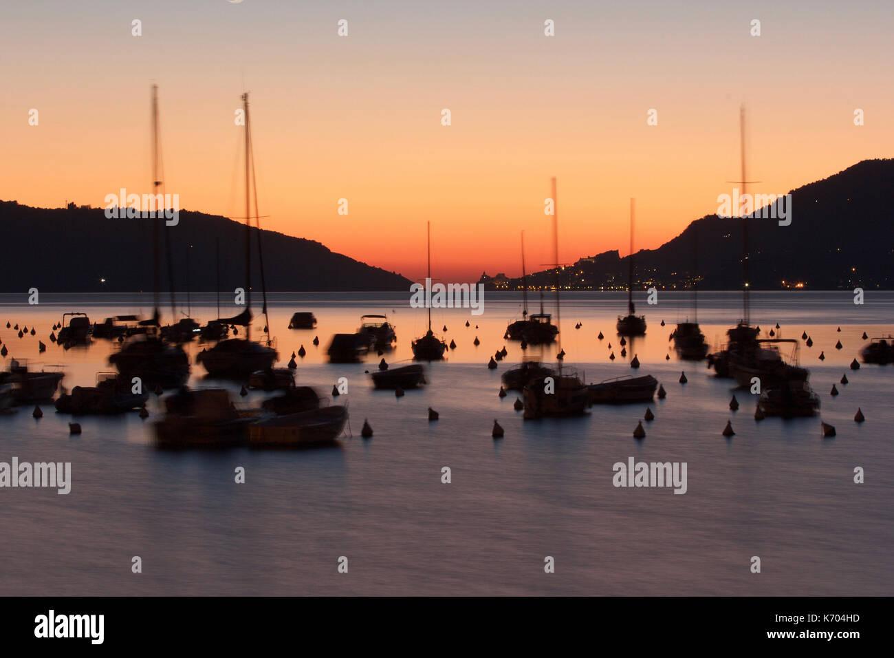 A beautiful sunset of the Lerici Harbor, Liguria, Italy, photoarkive - Stock Image