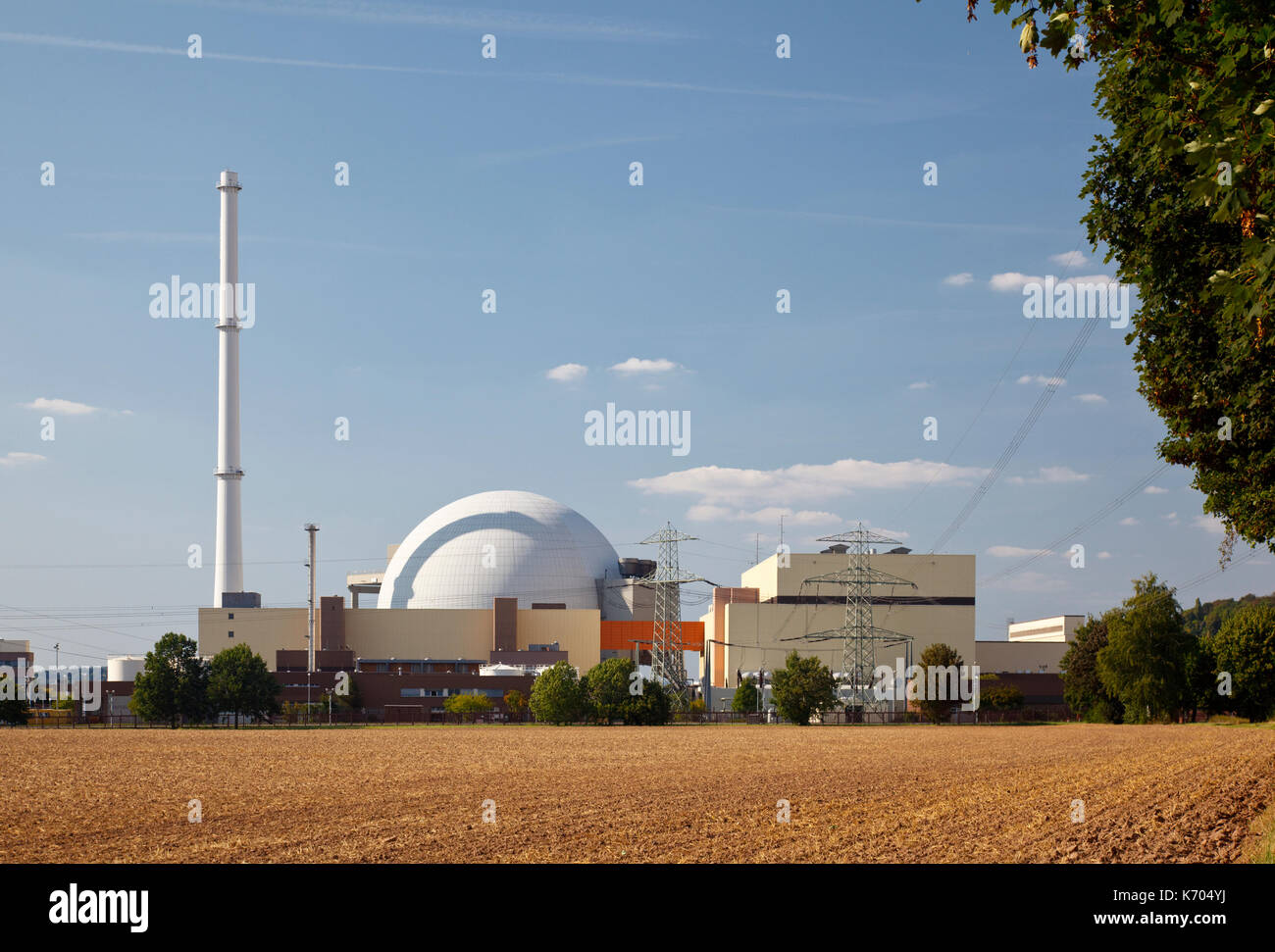 Reactor part of a nuclear power plant in sunlight. - Stock Image