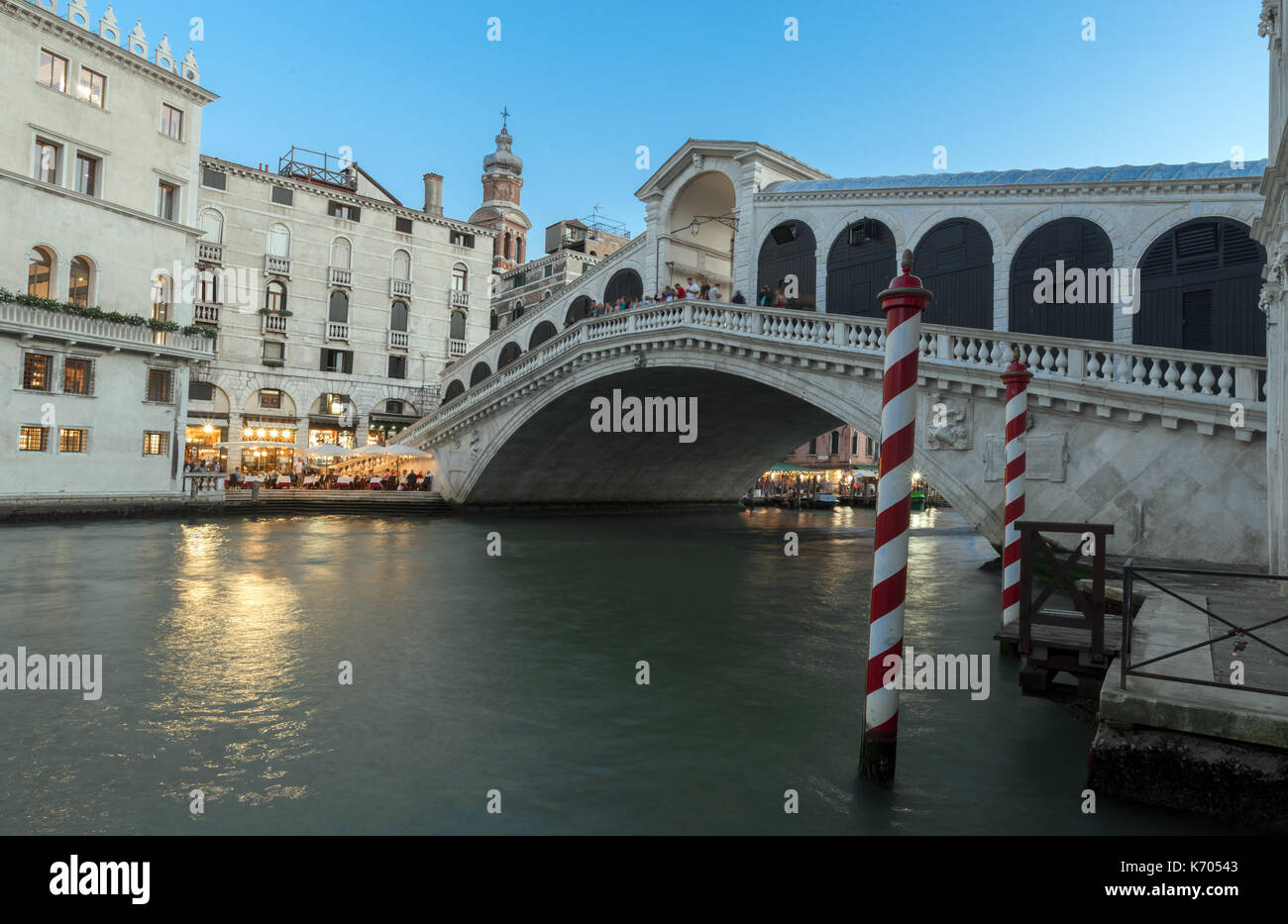 The Grand canal and Rialto bridge at evening, Venice, Italy. - Stock Image