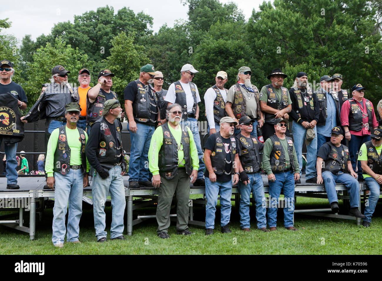 Members of Combat Veterans Motorcycle Association at Vietnam War Memorial during Memorial Day weekend - Washington, DC USA - Stock Image