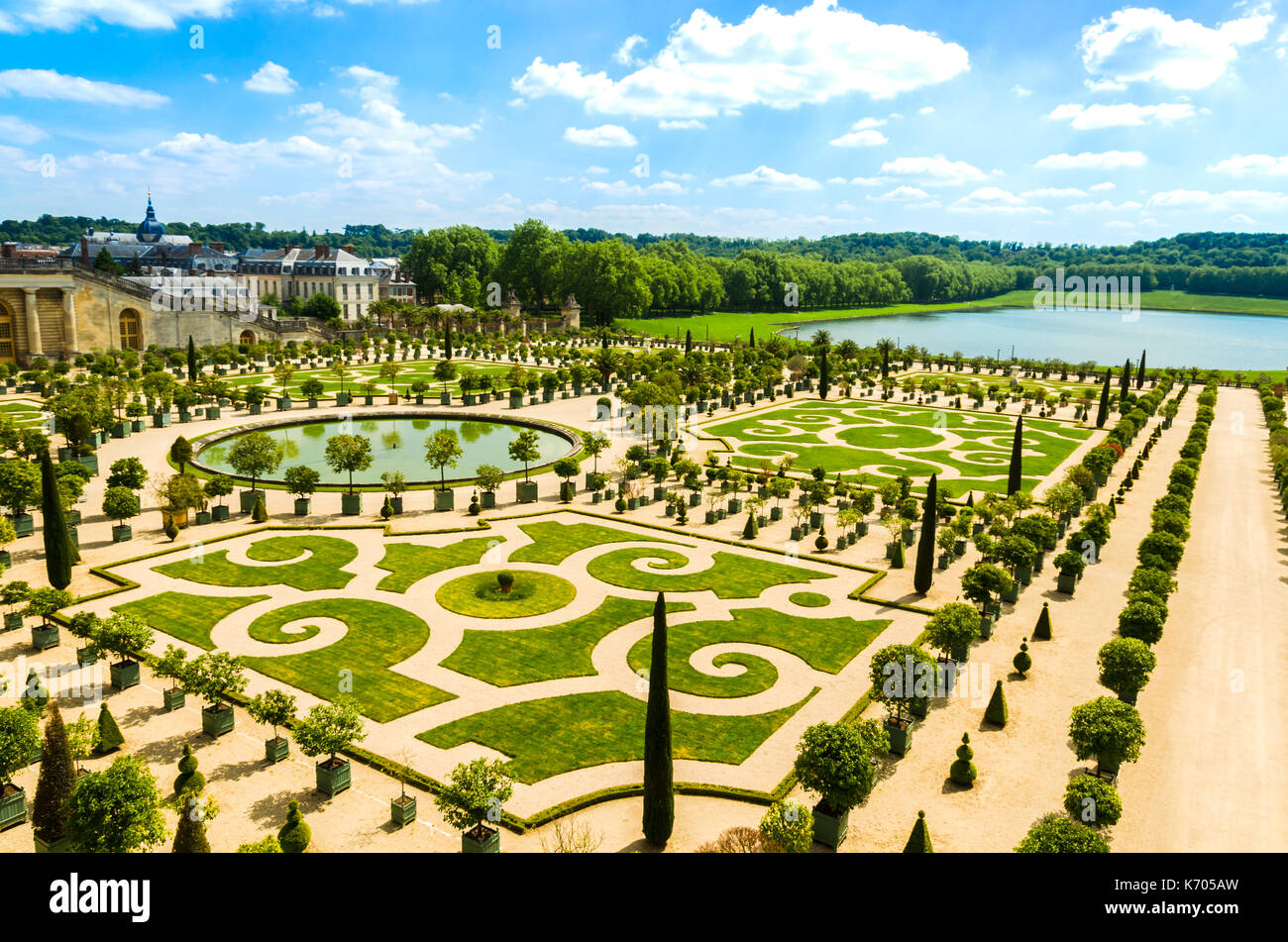 Versailles, France: Gardens of the Versailles Palace near Paris, France. - Stock Image