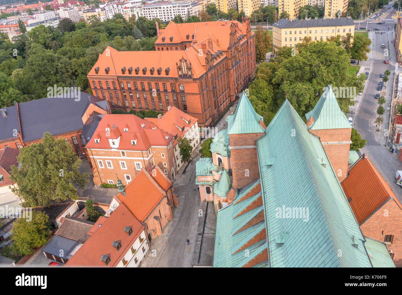 Aerial view over the Cathedral of St. John the Baptist in Wroclaw in 2017, Poland Stock Photo