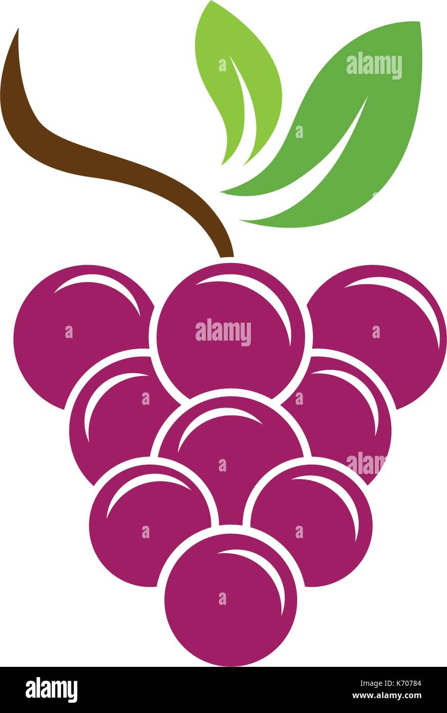 Bunch of wine grapes with leaf icon for food apps and websites Stock