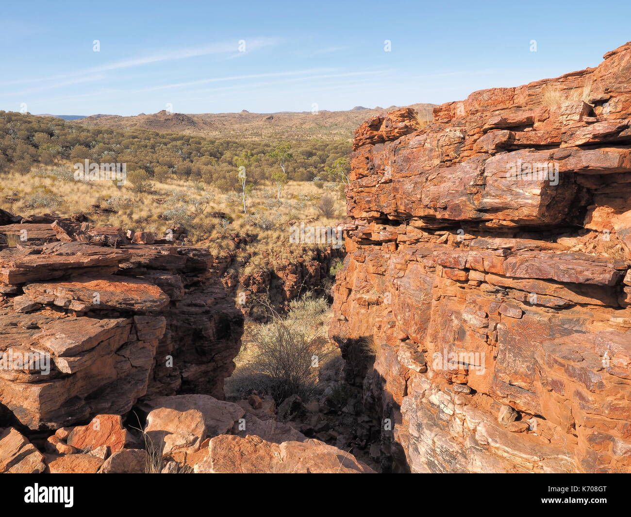 Trephina Gorge seen from the ridge, east MacDonnell ranges near Alice Springs, Northern Territory, Australia 2017 - Stock Image