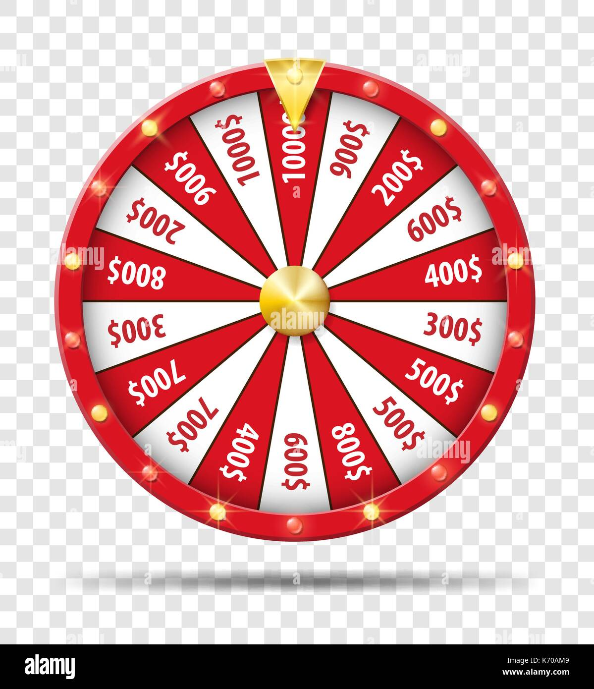 Red Wheel Of Fortune isolated on transparent background. Casino lottery luck game. Win fortune Wheel roulette. Vector illustration. - Stock Vector