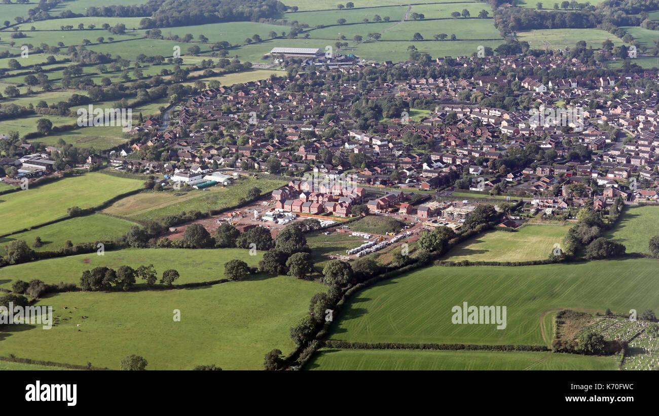 aerial view of new green belt housing development, Yorkshire, UK - Stock Image