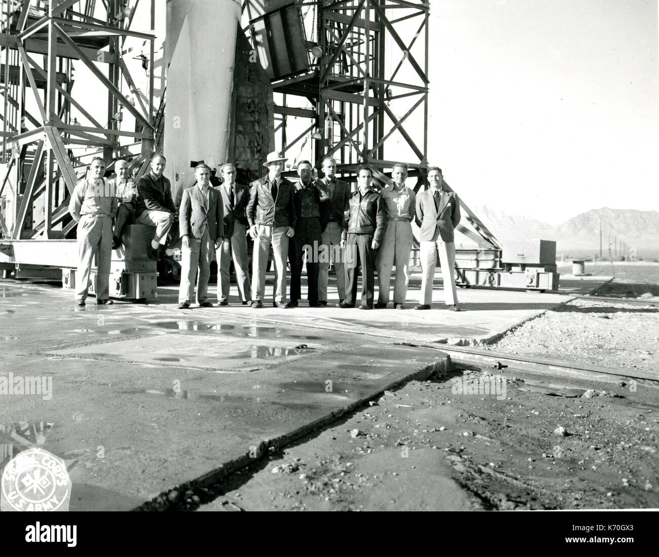 November, 1946, White Sands Proving Grounds - German scientists work on rocket propulsion equipment at White Sands Proving Ground. Left to right are: Werner Rosinski, Theo Poppel, Heinz Scharnowski, Max Nowak, Kurt Lindner, Hanz Huster, Erich Kaschig, Alvin Wittman, Erich Neubert, Albert Zeiler and Hans Gruene. - Stock Image