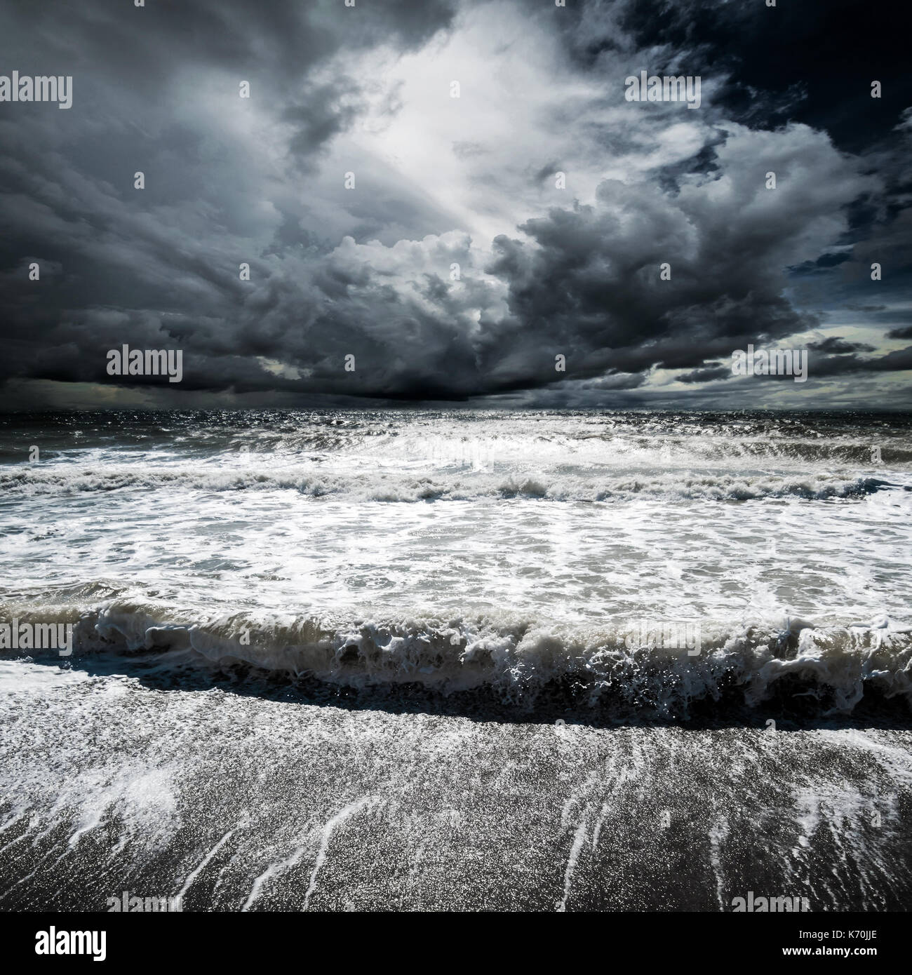 Ocean waves hurricane Stock Photo