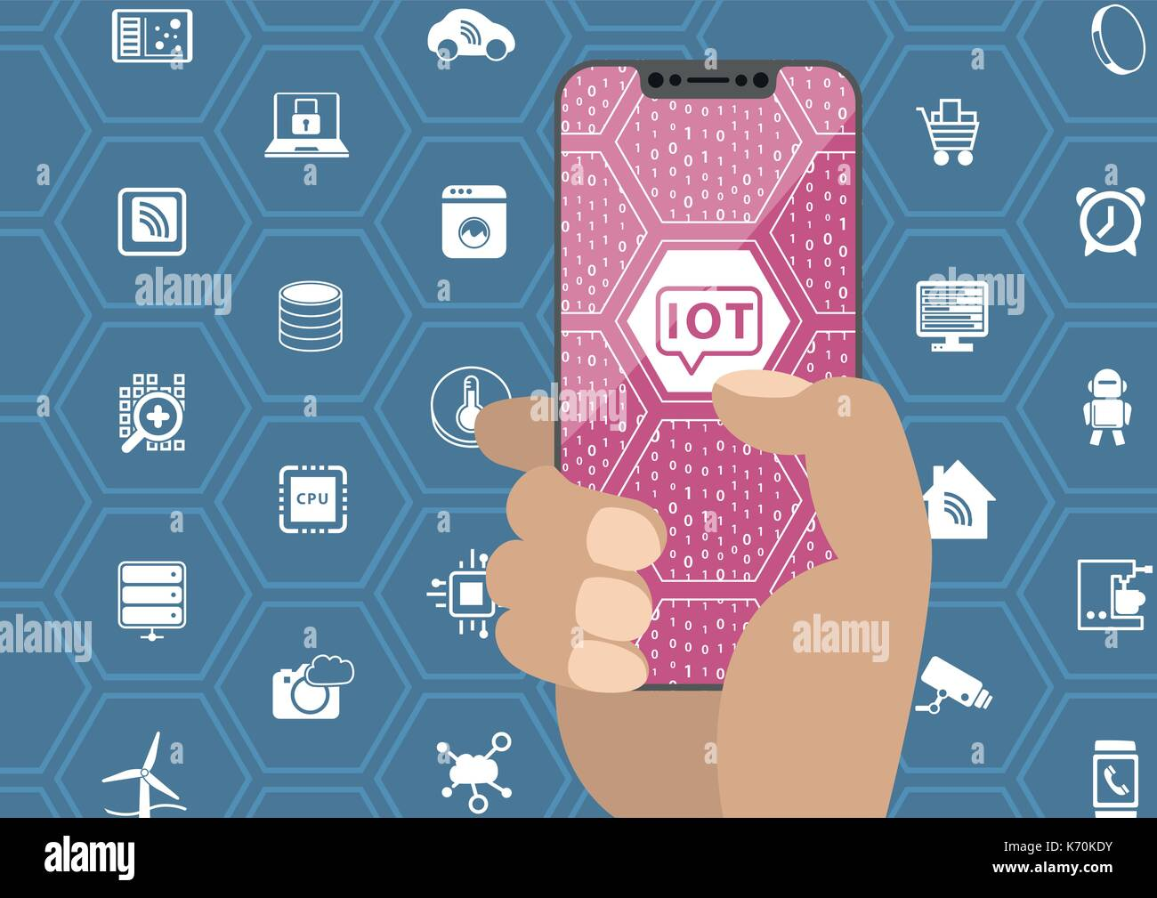 IOT / internet of things concept with hand holding bezel free smartphone. Symbols and frameless display as vector illustration. Stock Vector