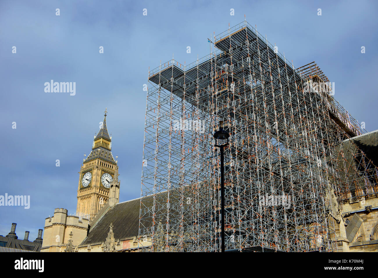 Restoration work in progress on Palace of Westminster Houses of Parliament, London, UK. Restoration and Renewal Programme. Scaffolding. - Stock Image