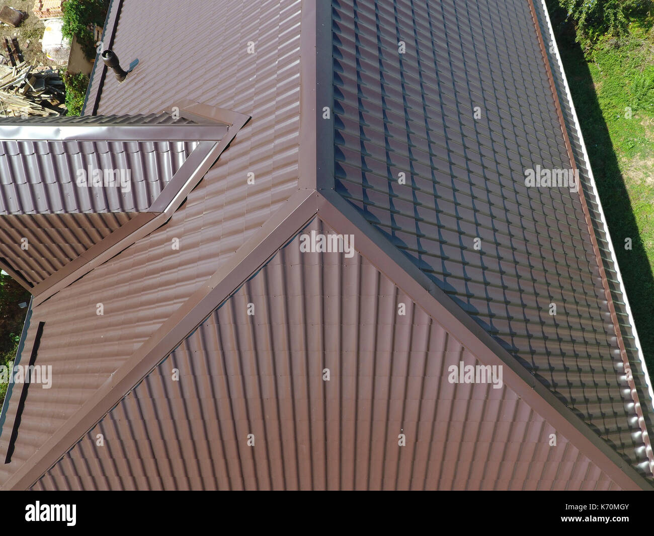 The Roof Of Corrugated Sheet Roofing Of Metal Profile Wavy Shape A Stock Photo Alamy