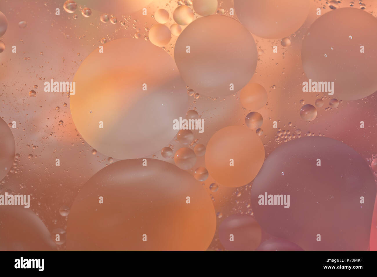 Pastel Orange Peach Oil And Water Bubble Abstract Background Wallpaper