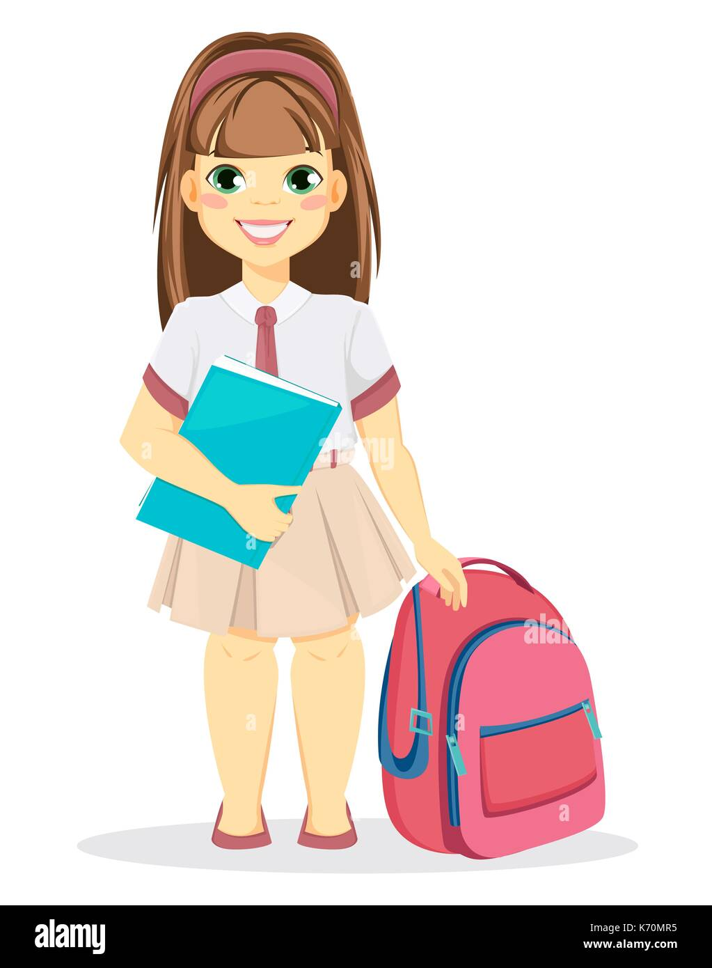 Schoolgirl with backpack and textbook. Coming back to school. Cute smiling  girl. Cartoon character. Vector illustration. 392b02435349f
