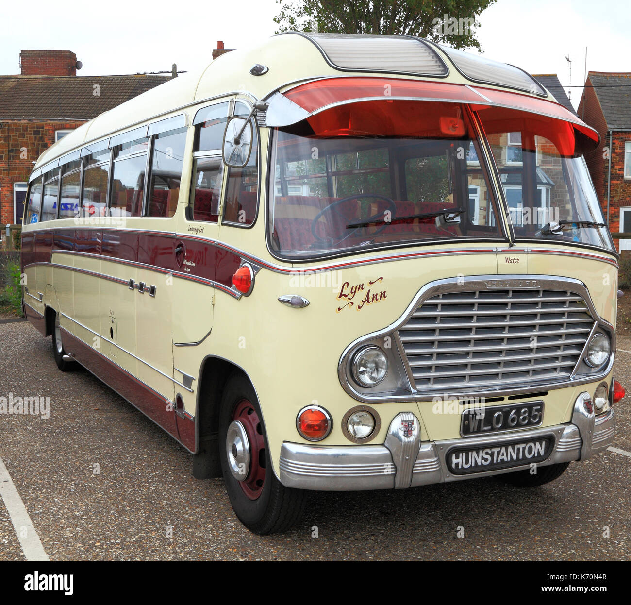 Vintage coach, built 1959,  coaches, Spratt's Coaches, bus, busses, made by Bedford,  Wreningham, Norfolk, England, UK - Stock Image