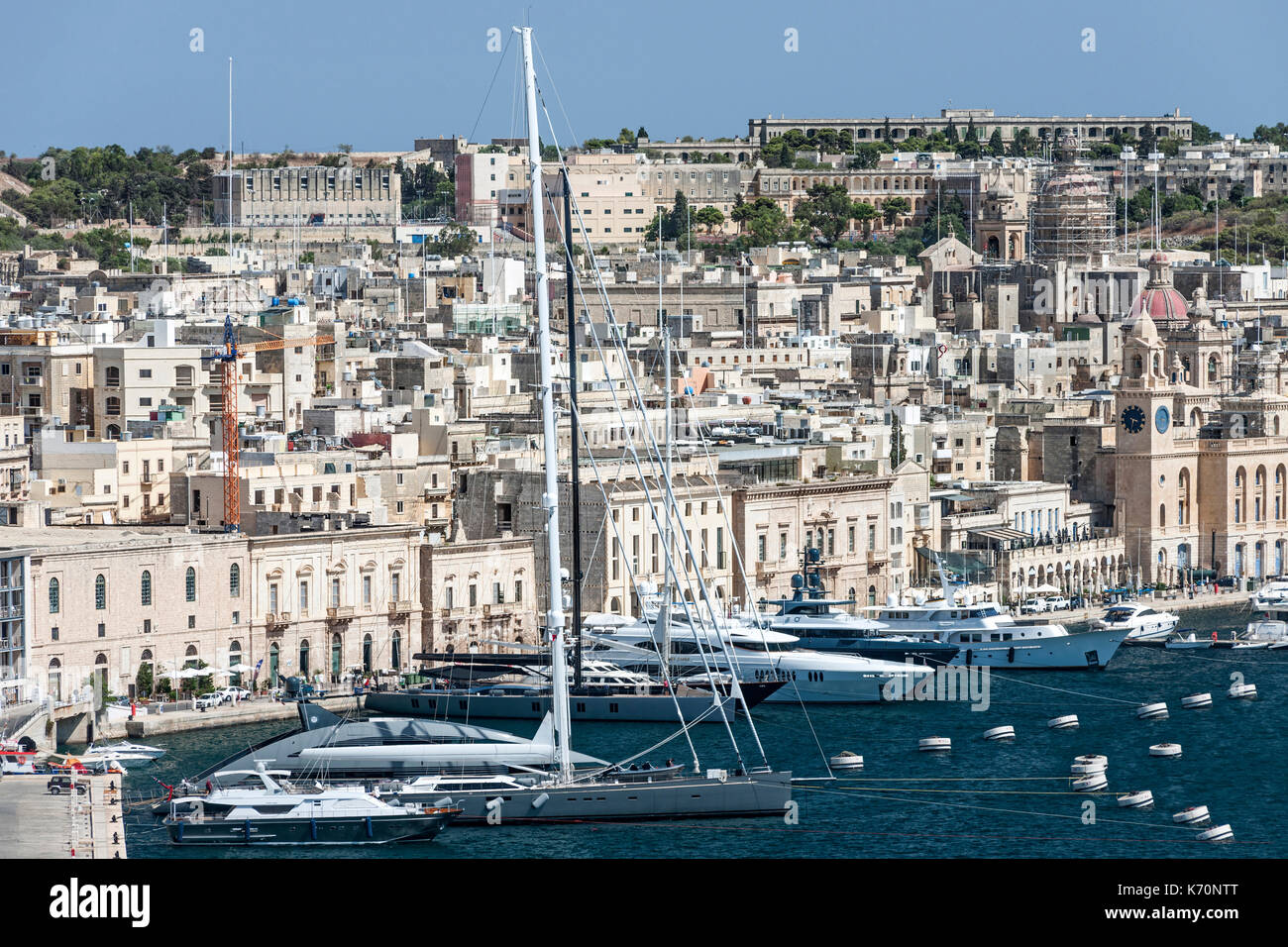 Grand Harbour Marina and the Birgu district of Valletta, the capital of Malta. - Stock Image