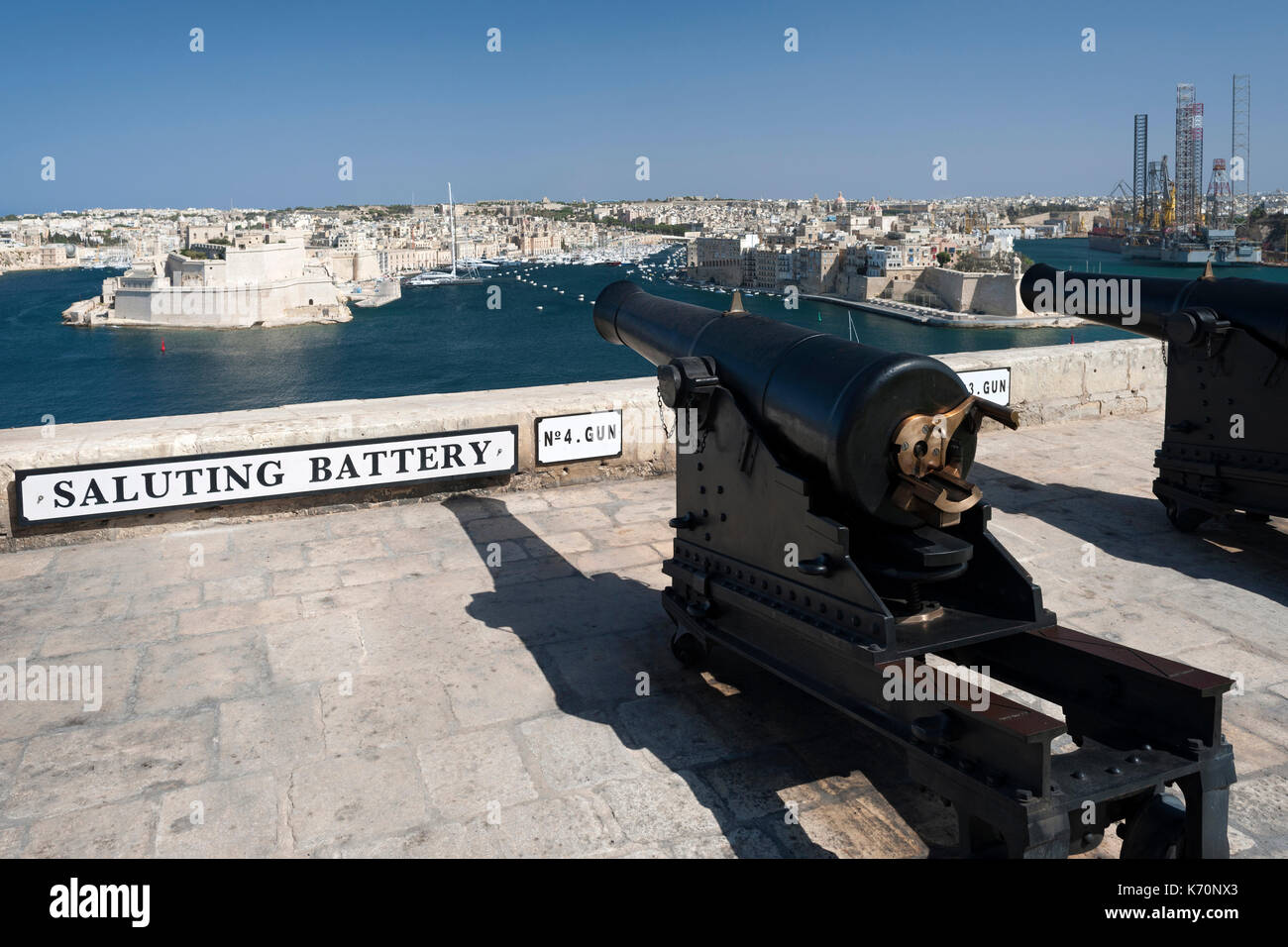 Cannons at the Saluting Battery in Valletta, the capital of Malta. - Stock Image