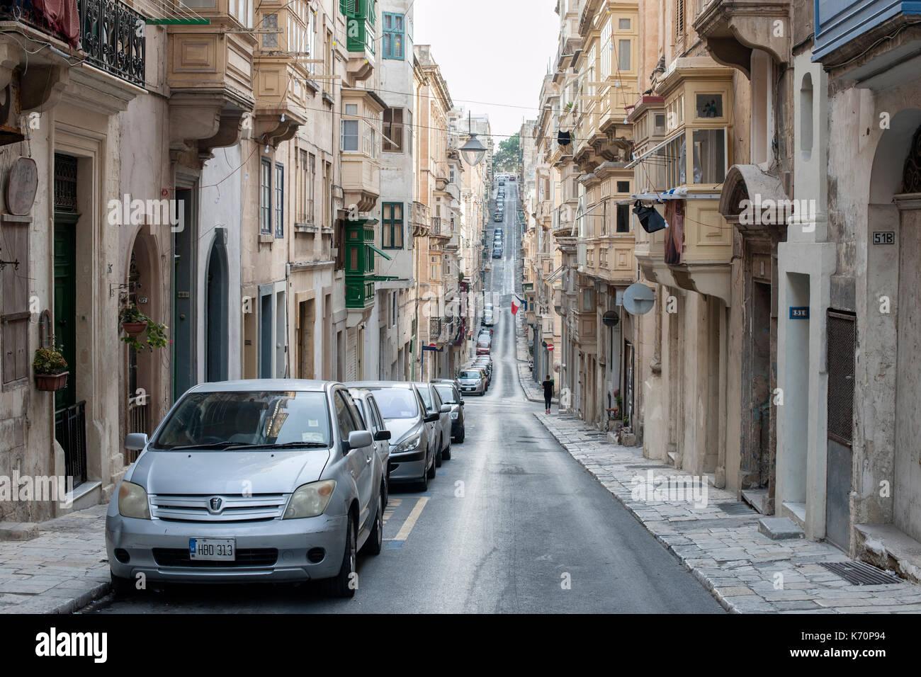 View up Zekka street (Triq Zekka) in Valletta, the capital of Malta. - Stock Image