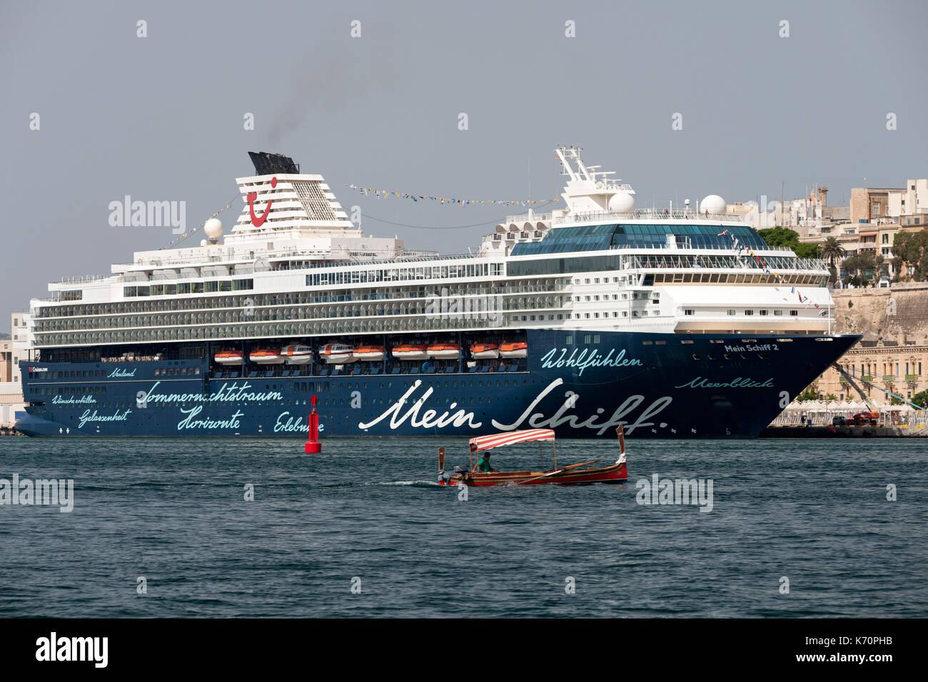 The Mein Schiff 5 cruise ship docked in Grand Harbour in Valletta, Malta. - Stock Image
