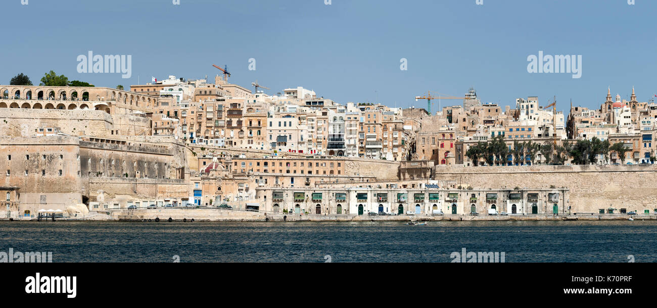 Panoramic of the old town of Valletta, the capital of Malta. - Stock Image