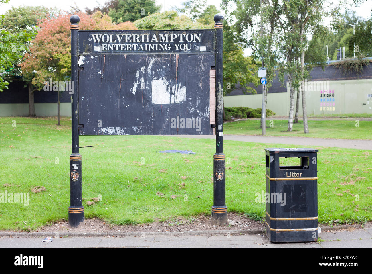 The noticeboard Wolverhampton entertaining you - Stock Image