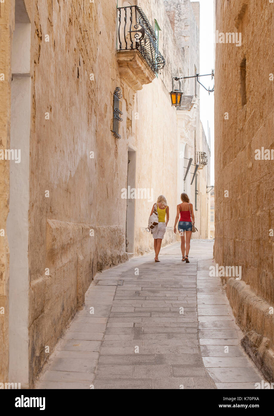Narrow streets of the historic fortified city of Mdina (Città Vecchia or Città Notabile) in Malta. - Stock Image