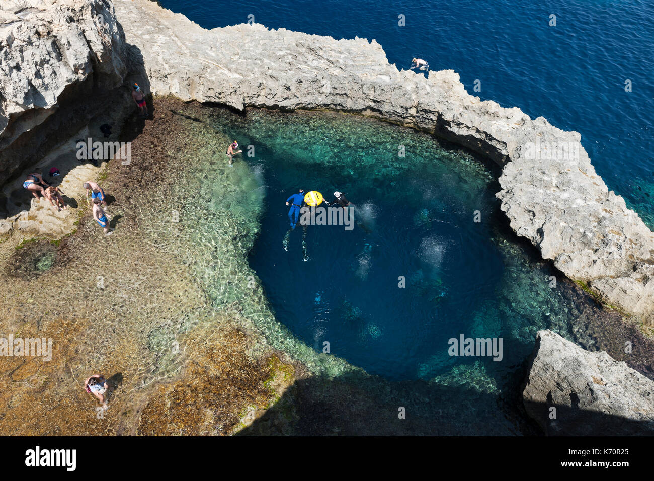 Dive site near the former Azure Window rock arch near Dwejra Bay on the island of Gozo in Malta. - Stock Image