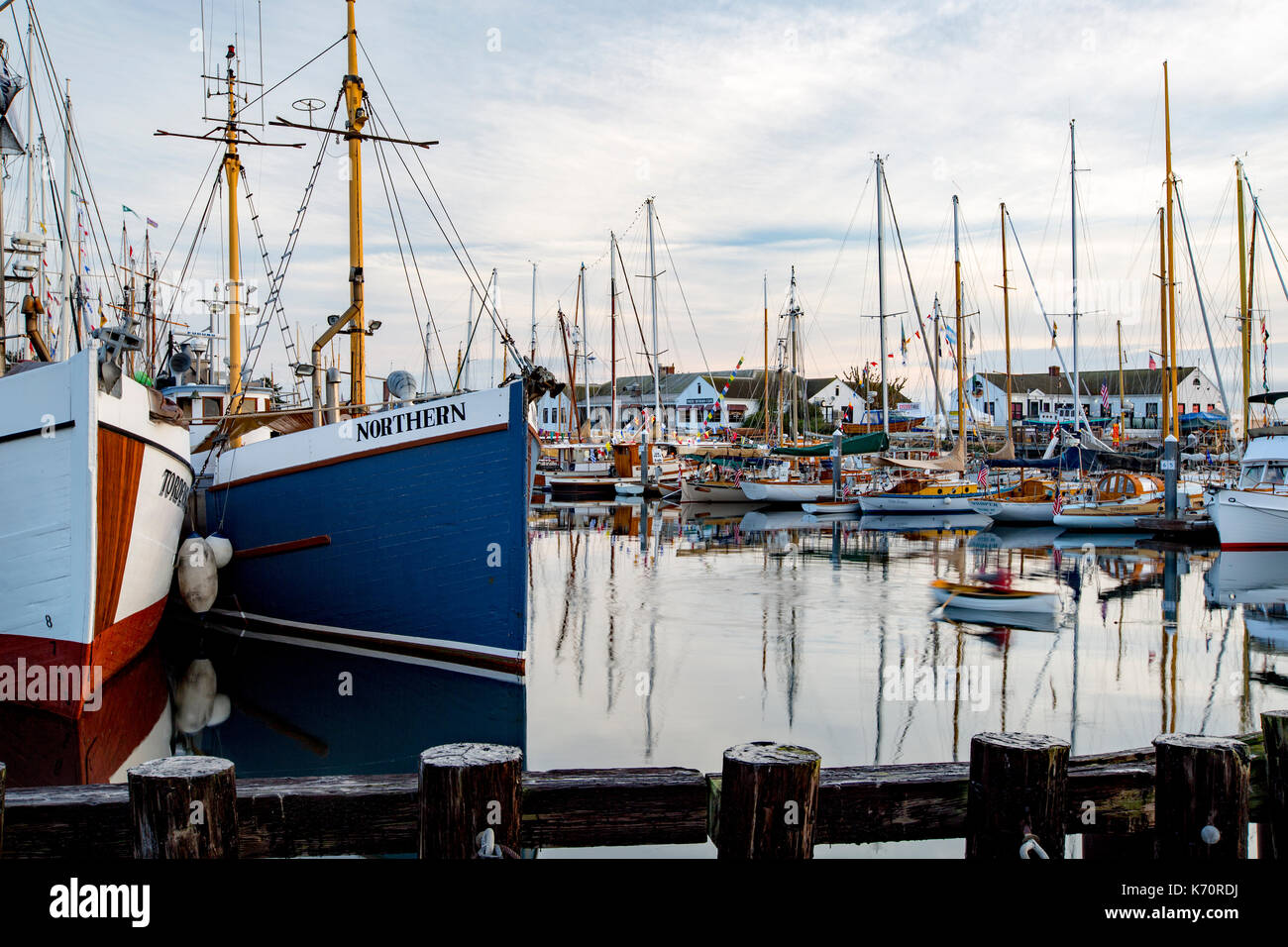 Wooden Boat Show Port Townsend, sailing boat in marina harbor, Point Hudson. Stock Photo