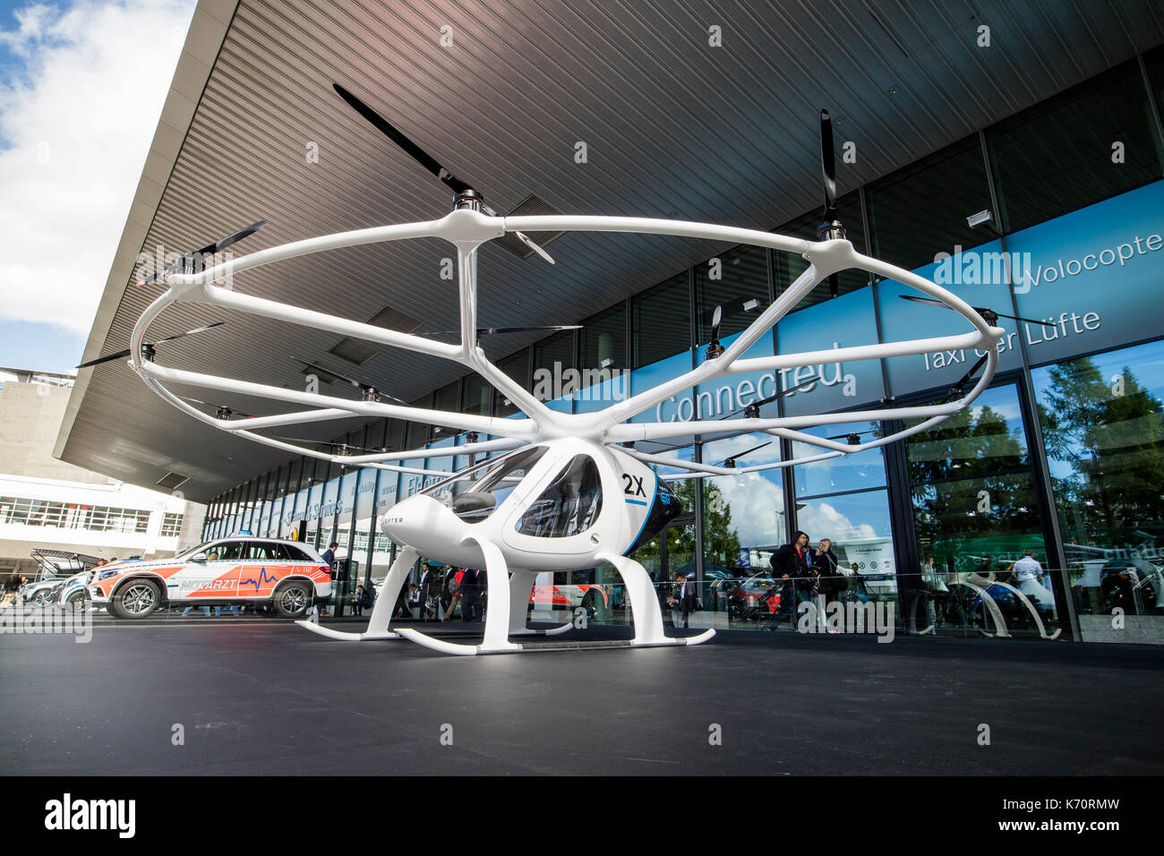 Frankfurt, Germany. 12th September, 2017. International Motor Show 2017 (IAA, Internationale Automobil-Ausstellung), Press Day: Volocopter 2x, world's first manned fully electric VTOL, vertical take-off and landing aircraft, multirotor helicopter. Credit: Christian Lademann - Stock Image