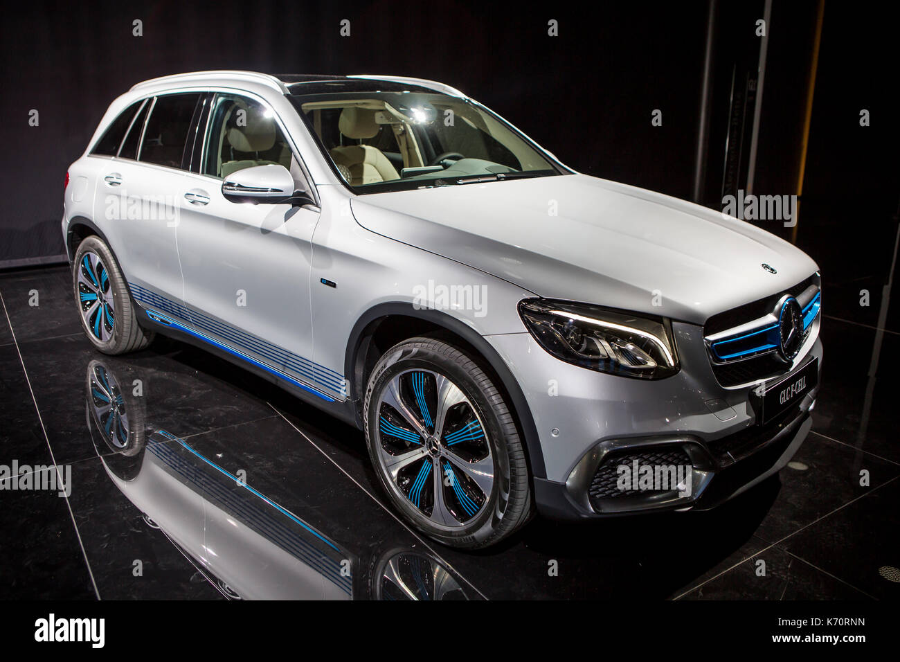 Frankfurt, Germany. 12th September, 2017. International Motor Show 2017 (IAA, Internationale Automobil-Ausstellung), Press Day: Mercedes GLC F-Cell, plugin-hybrid premium SUV with fuel-cell and battery power. Credit: Christian Lademann - Stock Image