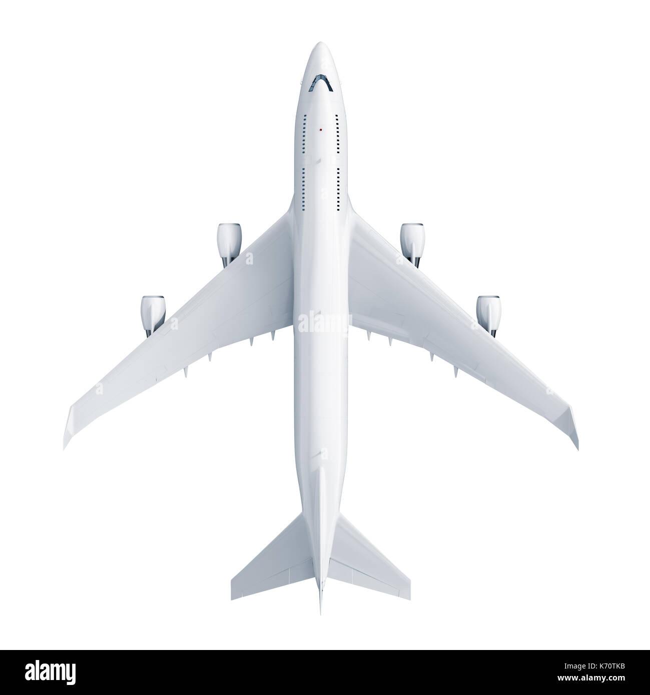 Airplane isolated on white background - Stock Image